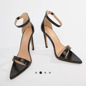 ASOS Black Snakeskin barely there Heels